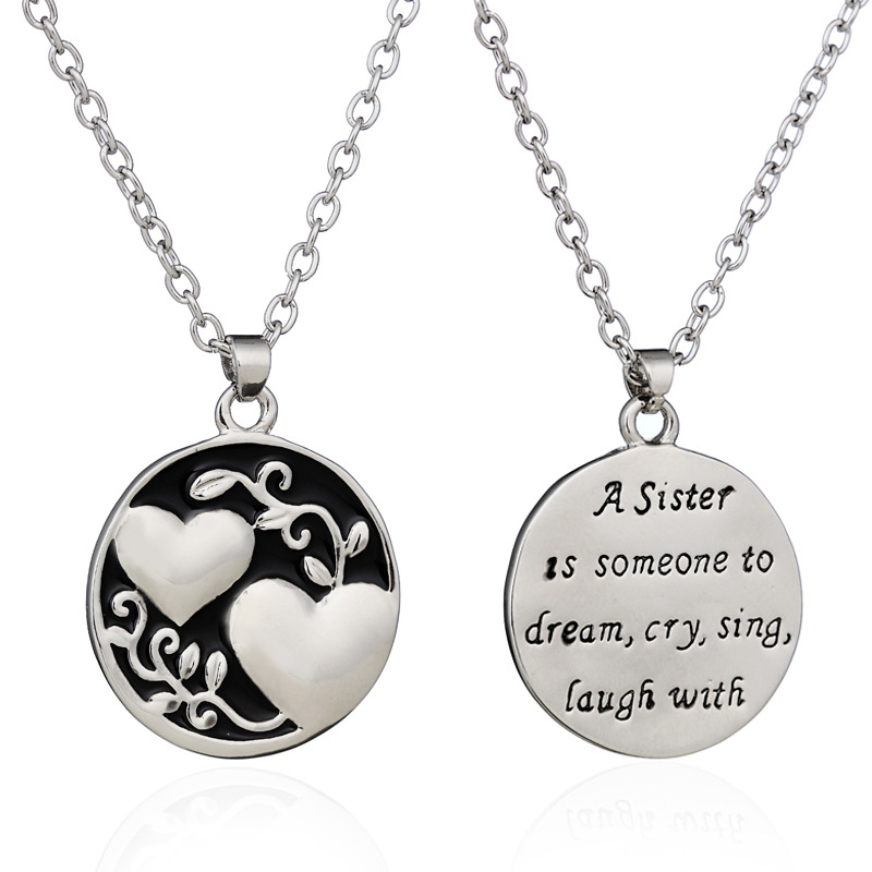 Double sided love sister pendant necklace mozeypictures Gallery