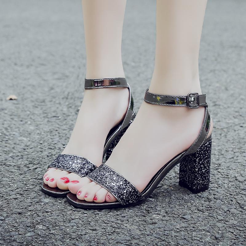 sparkly silver block heel sandals