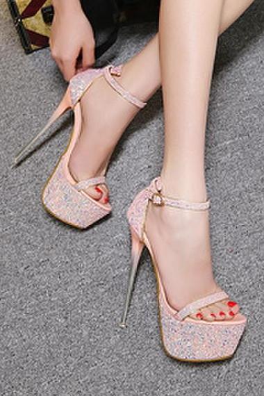 Light Pink Glitter Platform Stiletto Heels