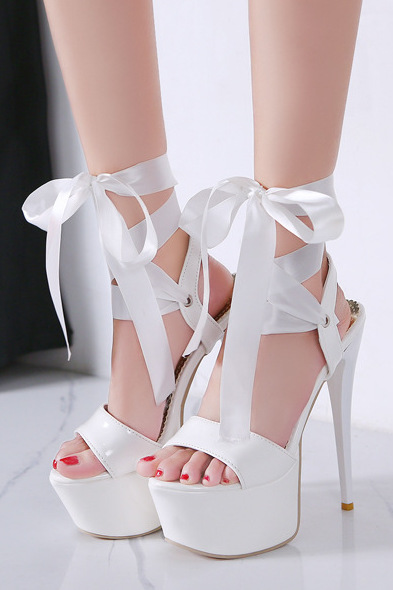 White Stiletto High Heels With Ribbon