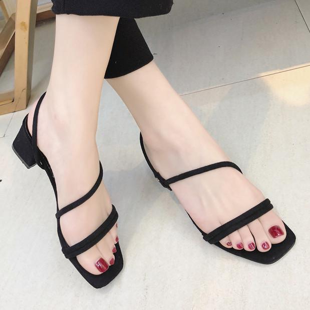 Black Strappy Block Low Heels Sandals