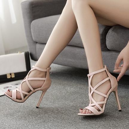 Light Pink Stiletto Strappy High Heeled