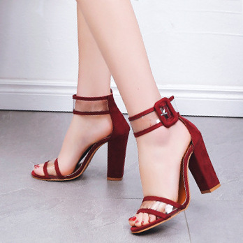 red block strappy heels