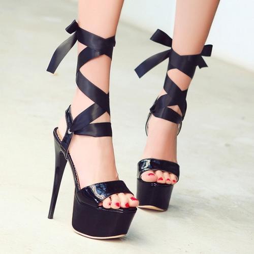 Black Stiletto High Heels With Ribbon