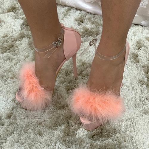 Pink Fur Platform Stiletto High Heels