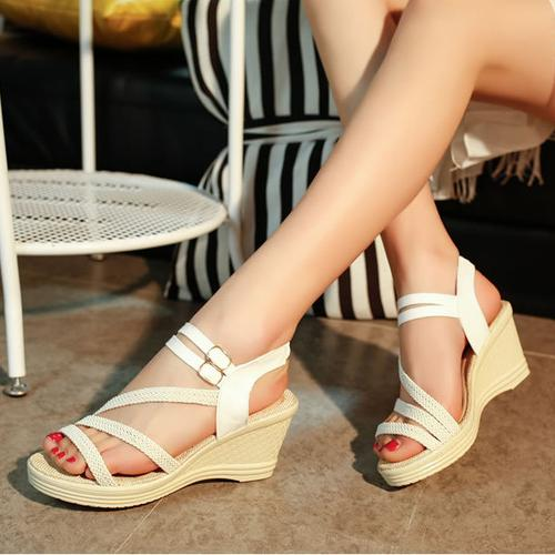 Sexy White Strappy Wedge Sandals (Cute)