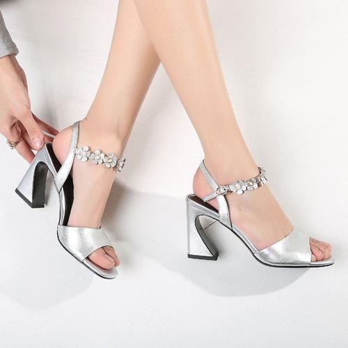 Silver Low Block Heel Sandals With