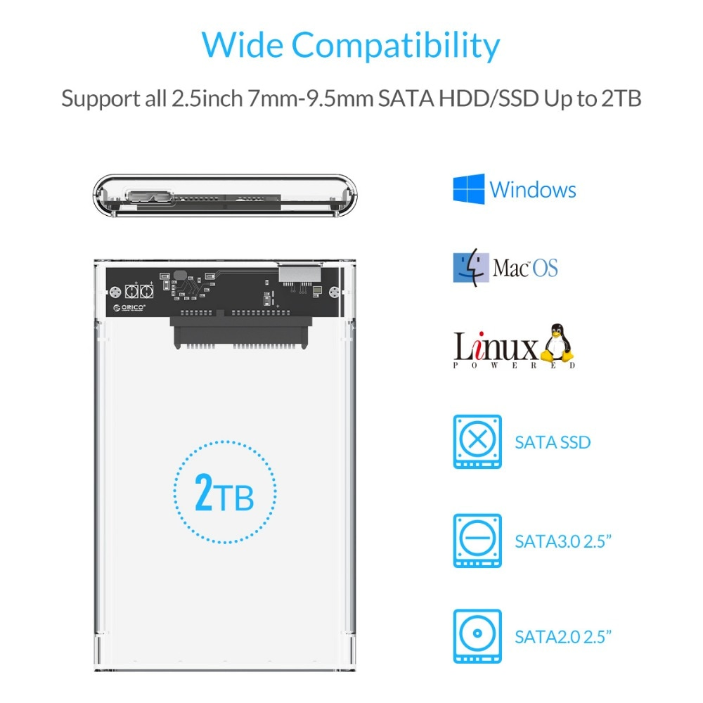 "ORICO 2.5/""Transparent USB3.0 to Sata 3.0 HDD Case Tool Free 5Gbp Drive Enclosure"