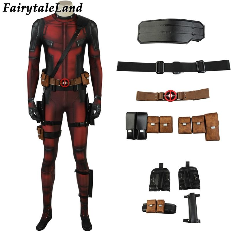 Movie Deadpool 2 Cospaly Costume Wade Uniform Halloween Outfit Jumpsuit  Suit