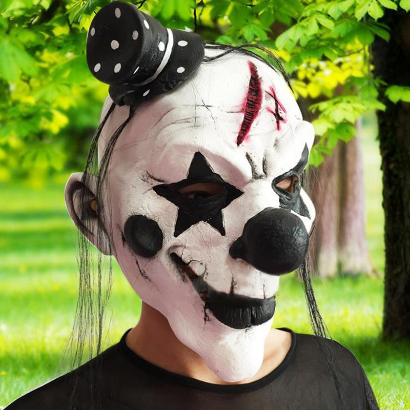 full face latex halloween clown mask cosplay scary mask clown costume masquerade creepy mask for halloween terror party props