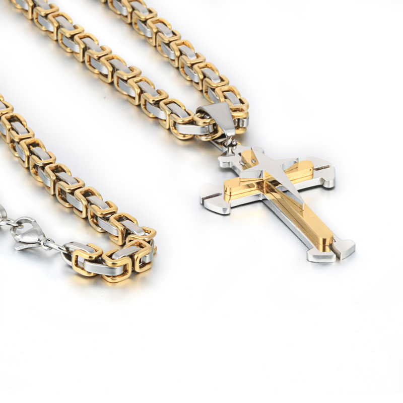 3665c2318582 2018 Cross necklace Stainless Steel Chain 3 Layer Knight Cross Silver Gold  Black Color Mens Necklace Pendant