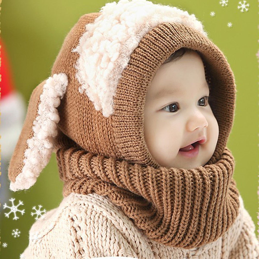 Winter Rabbit Ear Kids Baby Hats Lovely Infant Toddler Girl Boy Beanie Cap  Warm Baby Hat+Hooded Knitted Scarf Set Earflap Caps 1189f1748a42