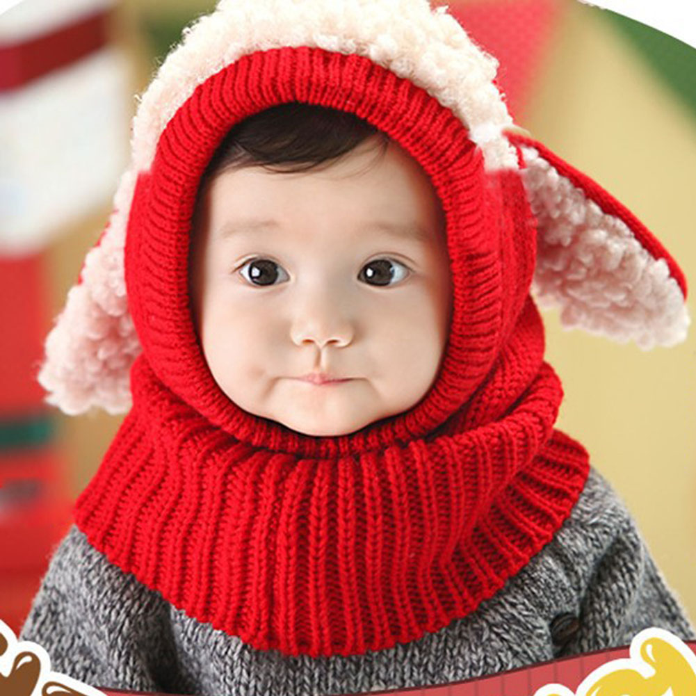 0867c85abab Winter Rabbit Ear Kids Baby Hats Lovely Infant Toddler Girl Boy Beanie Cap  Warm Baby Hat+Hooded Knitted Scarf Set Earflap Caps