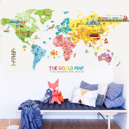 Wall Sticker World Map.Kids World Map Decal 2 Sizes