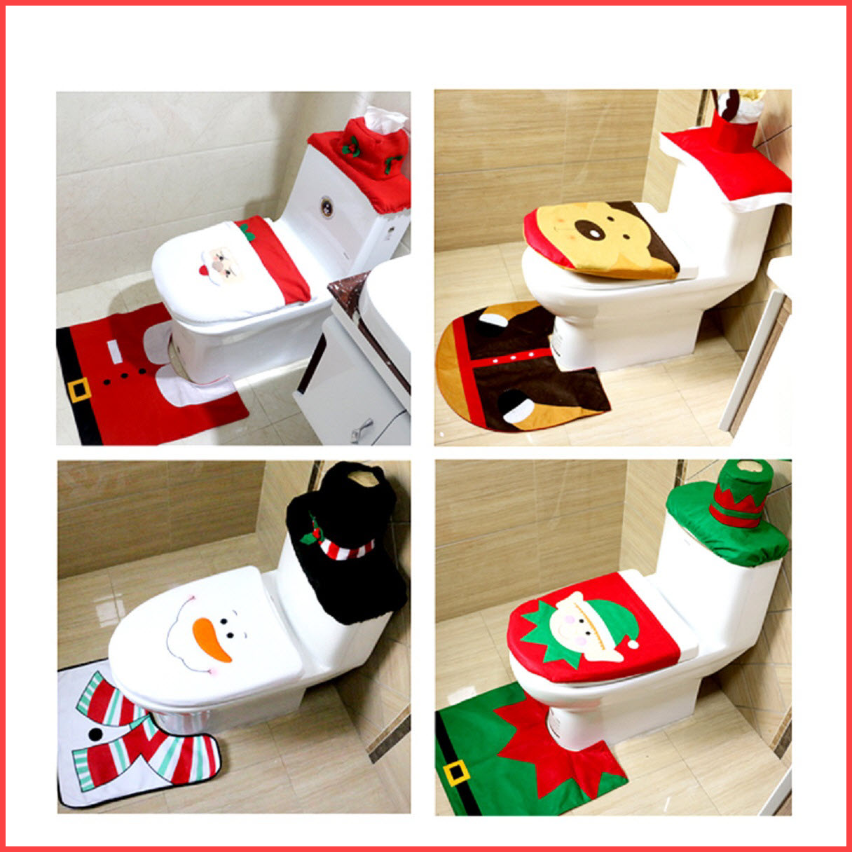 christmas toilet seat cover and mat bathroom set christmas decorations for home