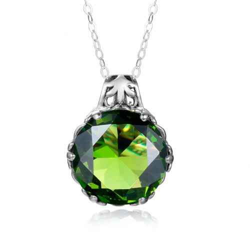 Silver Essence Necklace (Peridot)