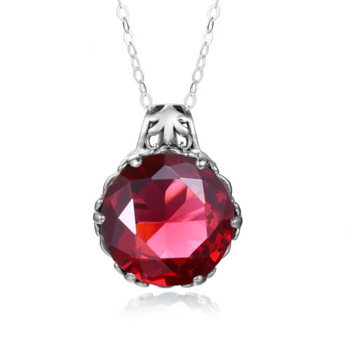 Silver Essence Necklace (Ruby)
