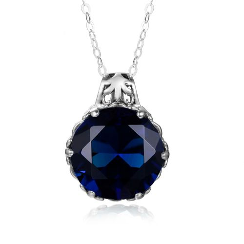 Silver Essence Necklace (Sapphire)