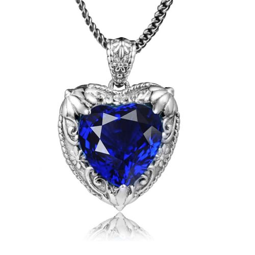 Silver Heart Necklace (Sapphire)