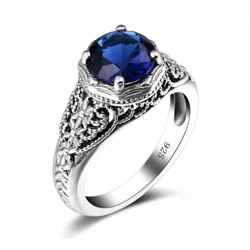 Silver Circle Ring (Sapphire)