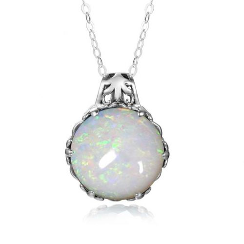 Silver Essence Necklace (Opal)