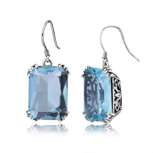 Silver Stunner Earrings (Aquamarine)
