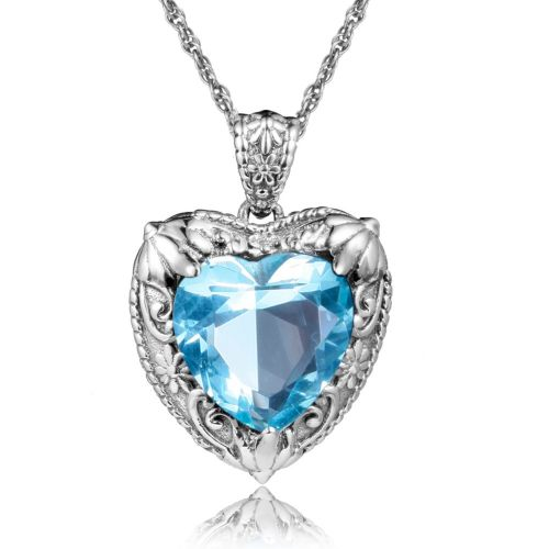 Silver Heart Necklace (Aquamarine)