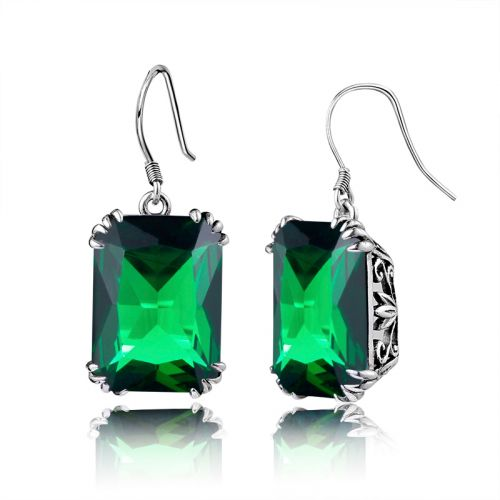 Silver Stunner Earrings (Emerald)