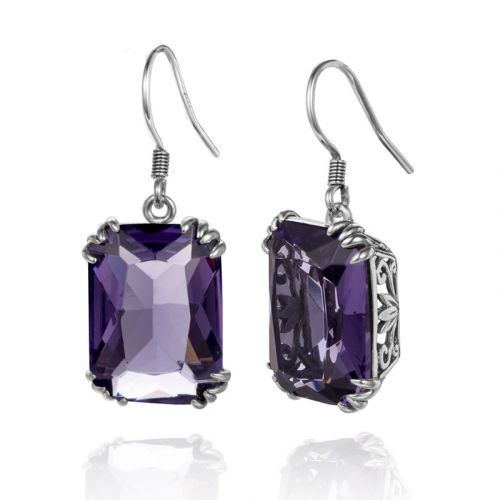 Silver Stunner Earrings (Amethyst)