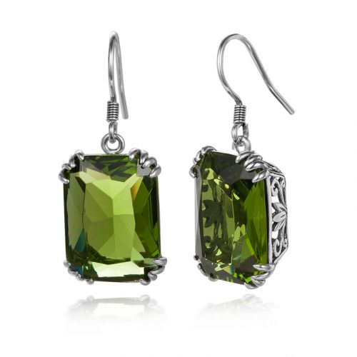 Silver Stunner Earrings (Peridot)
