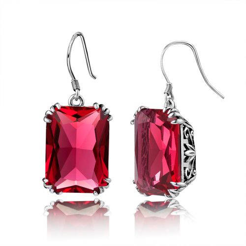 Silver Stunner Earrings (Ruby)