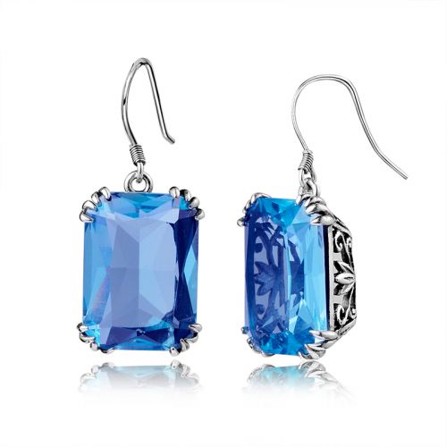 Silver Stunner Earrings (Blue Topaz)