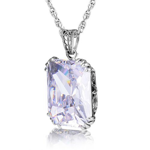 Silver Stunner Necklace (Diamond)