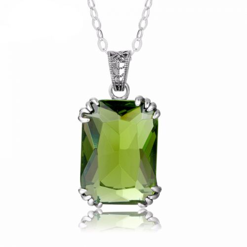 Silver Stunner Necklace (Peridot)