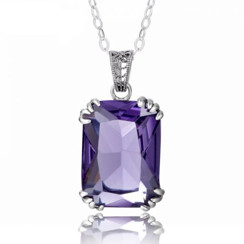 Silver Stunner Necklace (Amethyst)