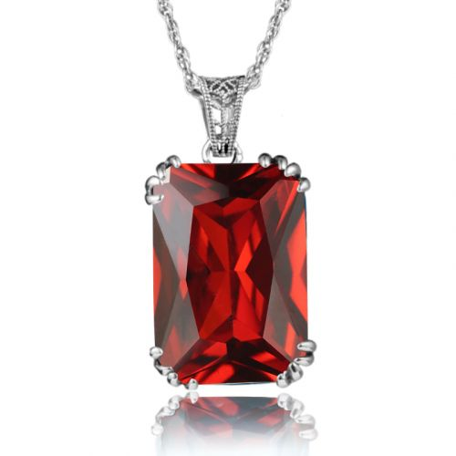 Silver Stunner Necklace (Ruby)