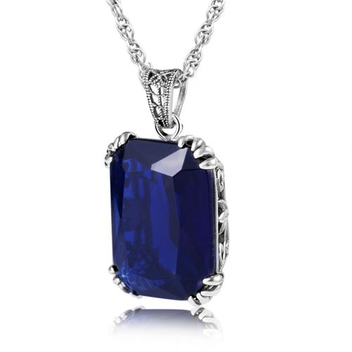 Silver Stunner Necklace (Sapphire)