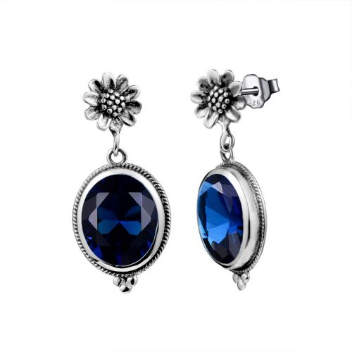 Silver Blossom Earrings (Sapphire)
