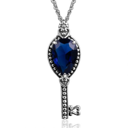 Silver Key Necklace (Sapphire)