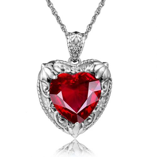 Silver Heart Necklace (Ruby)