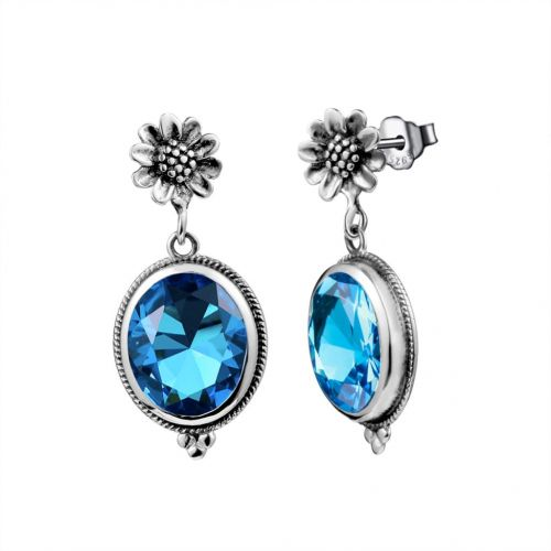 Silver Blossom Earrings (Blue Topaz)