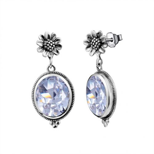 Silver Blossom Earrings (Diamond)