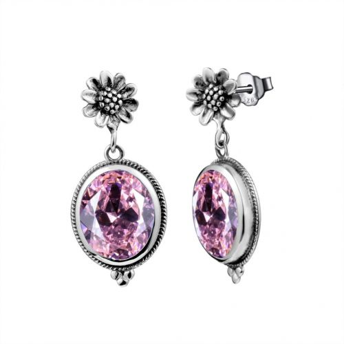 Silver Blossom Earrings (Pink Tourmaline)