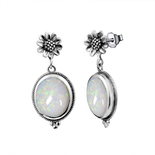 Silver Blossom Earrings (Opal)