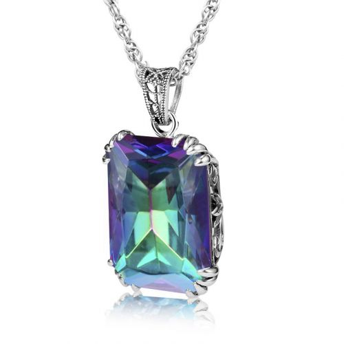 Silver Stunner Necklace (Mystic Fire Topaz)
