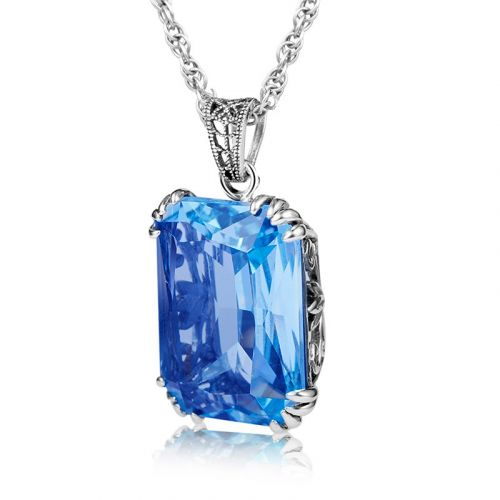 Silver Stunner Necklace (Blue Topaz)