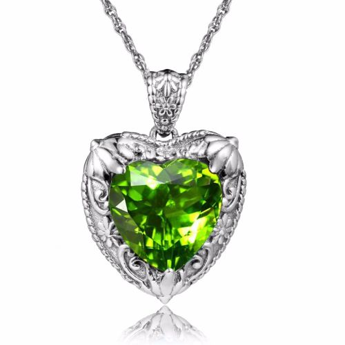 Silver Heart Necklace (Peridot)