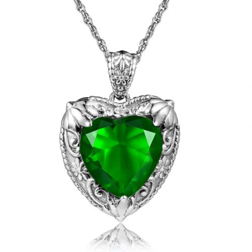 Silver Heart Necklace (Emerald)
