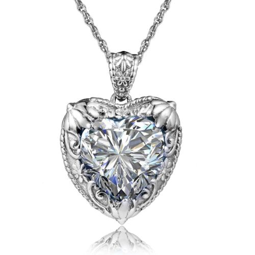 Silver Heart Necklace (Diamond)
