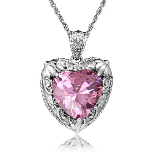 Silver Heart Necklace (Pink Tourmaline)